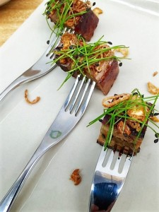 Canape pork on a fork