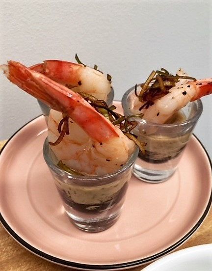 Canape prawn shot glass
